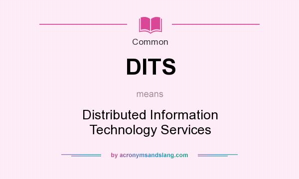 What does DITS mean? It stands for Distributed Information Technology Services