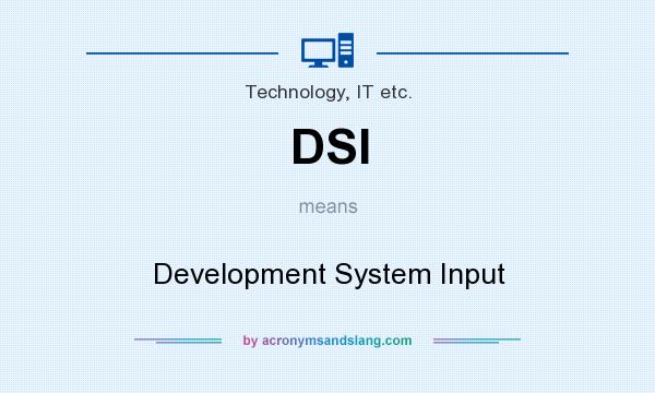 What does DSI mean? It stands for Development System Input