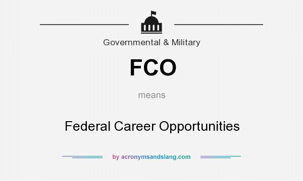What does FCO mean? It stands for Federal Career Opportunities