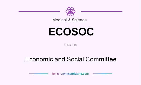 What does ECOSOC mean? It stands for Economic and Social Committee