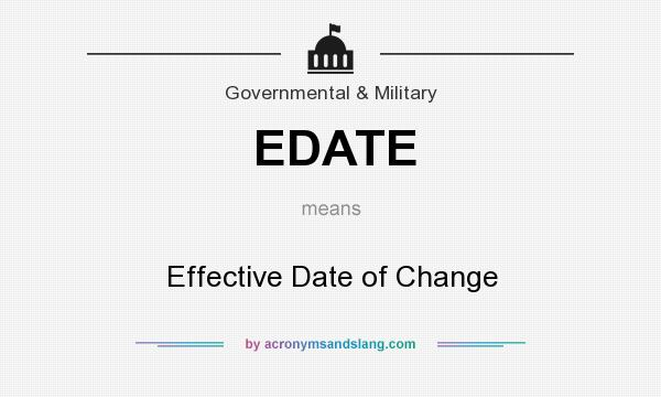 What does EDATE mean? It stands for Effective Date of Change