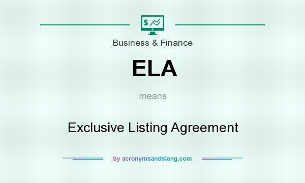 Ela  Exclusive Listing Agreement In Business  Finance By