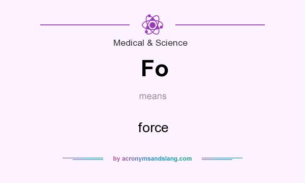 What does Fo mean? It stands for force