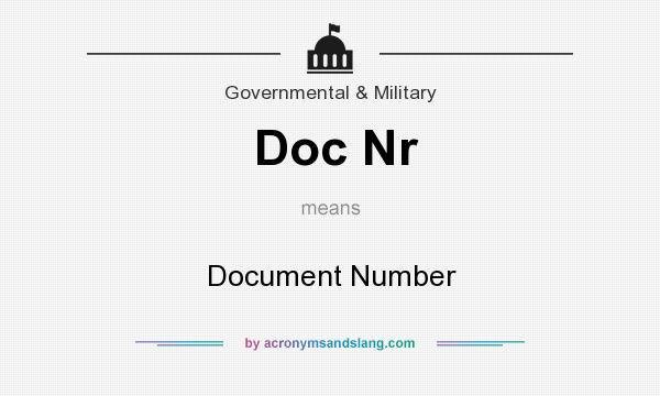What does Doc Nr mean? It stands for Document Number
