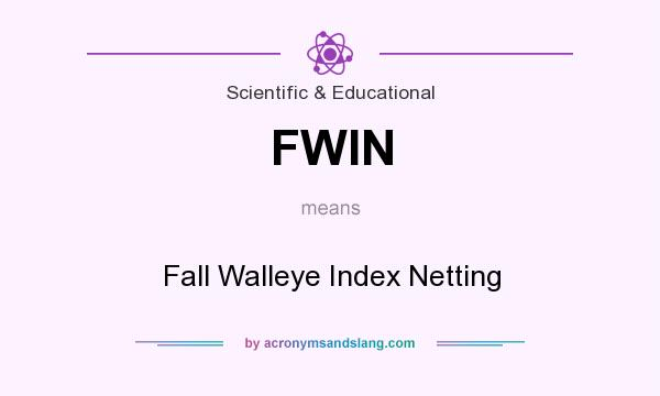 What does FWIN mean? It stands for Fall Walleye Index Netting