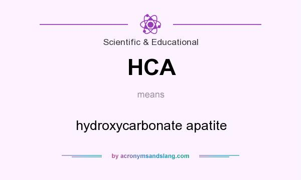 What does HCA mean? It stands for hydroxycarbonate apatite