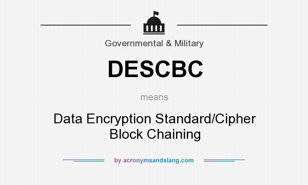 What does DESCBC mean? It stands for Data Encryption Standard/Cipher Block Chaining