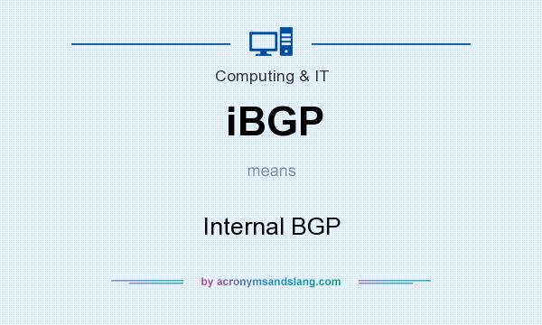 What does iBGP mean? It stands for Internal BGP