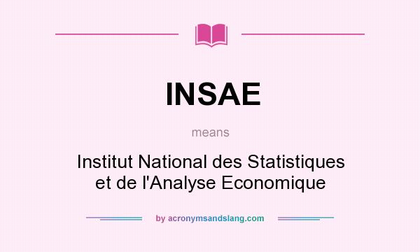 What does INSAE mean? It stands for Institut National des Statistiques et de l`Analyse Economique
