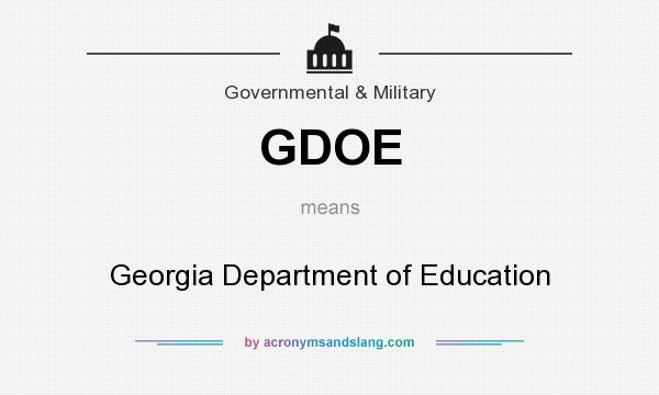 What does GDOE mean? It stands for Georgia Department of Education
