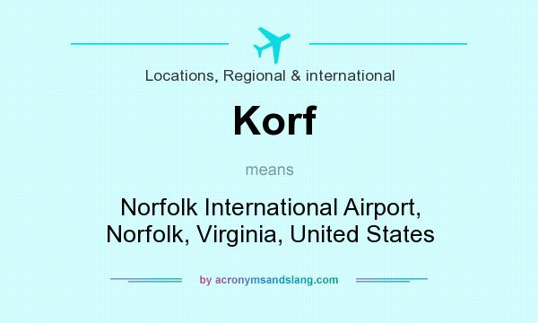 What does Korf mean? It stands for Norfolk International Airport, Norfolk, Virginia, United States