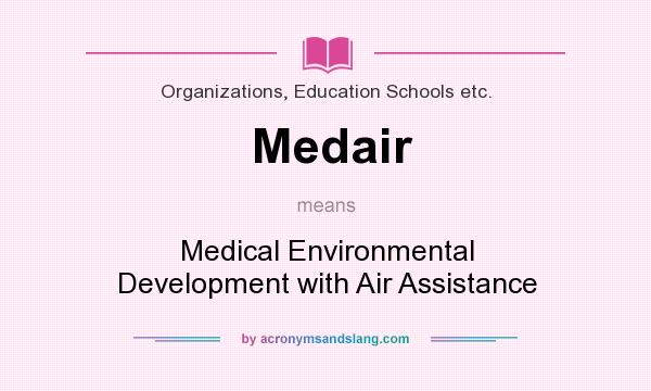 What does Medair mean? It stands for Medical Environmental Development with Air Assistance