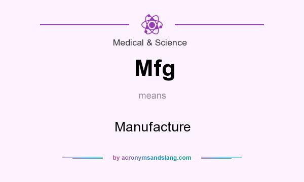 What does Mfg mean? It stands for Manufacture