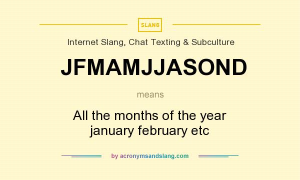 What does JFMAMJJASOND mean? It stands for All the months of the year january february etc