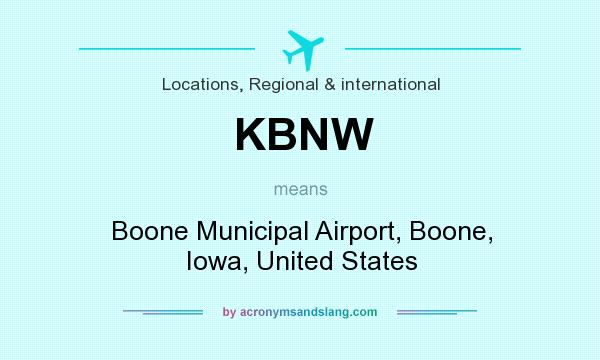 What does KBNW mean? It stands for Boone Municipal Airport, Boone, Iowa, United States