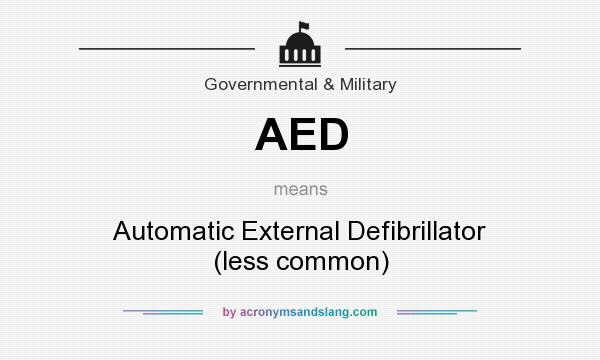 What does AED mean? It stands for Automatic External Defibrillator (less common)