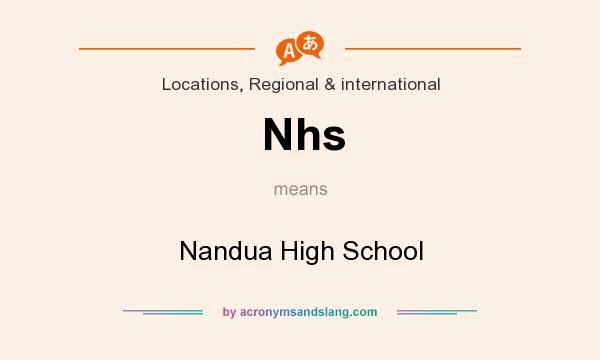 What does Nhs mean? It stands for Nandua High School