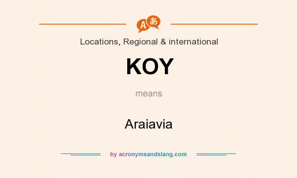 What does KOY mean? It stands for Araiavia