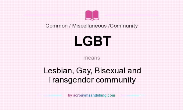 What does LGBT mean? It stands for Lesbian, Gay, Bisexual and Transgender community