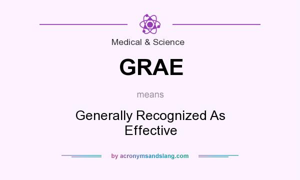 What does GRAE mean? It stands for Generally Recognized As Effective