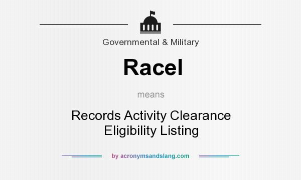 What does Racel mean? It stands for Records Activity Clearance Eligibility Listing