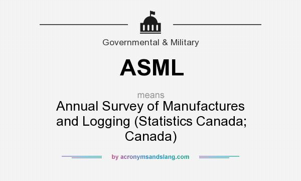 What does ASML mean? It stands for Annual Survey of Manufactures and Logging (Statistics Canada; Canada)