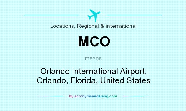 What does MCO mean? It stands for Orlando International Airport, Orlando, Florida, United States