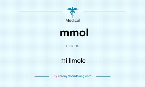 What does mmol mean? It stands for millimole