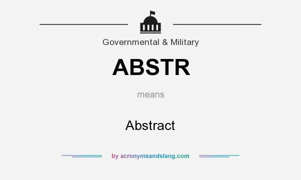 What does ABSTR mean? It stands for Abstract