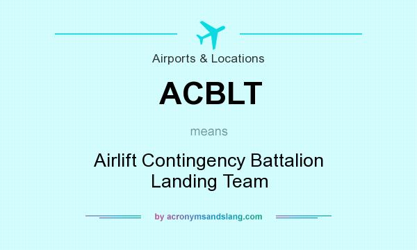 What does ACBLT mean? It stands for Airlift Contingency Battalion Landing Team