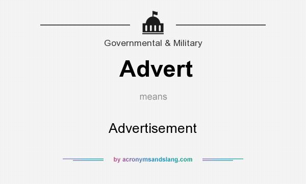 What does Advert mean? It stands for Advertisement
