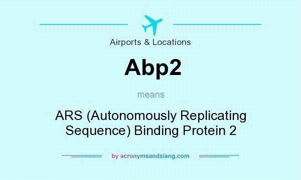 What does Abp2 mean? It stands for ARS (Autonomously Replicating Sequence) Binding Protein 2