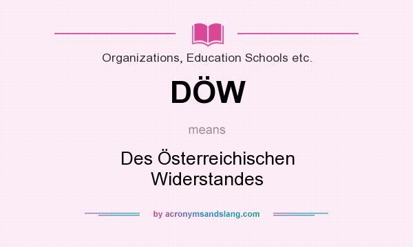 What does DÖW mean? It stands for Des Österreichischen Widerstandes