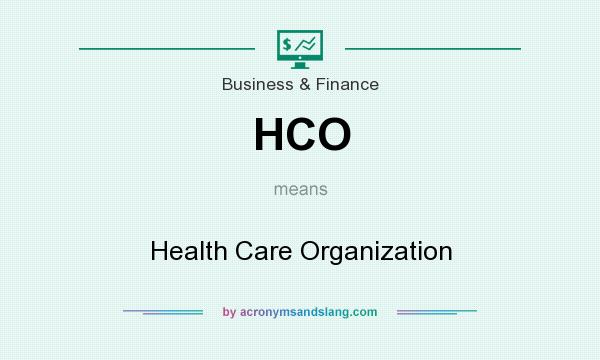 What does HCO mean? It stands for Health Care Organization