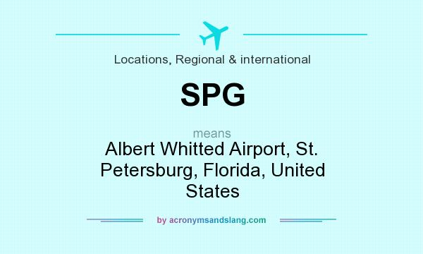 What does SPG mean? It stands for Albert Whitted Airport, St. Petersburg, Florida, United States