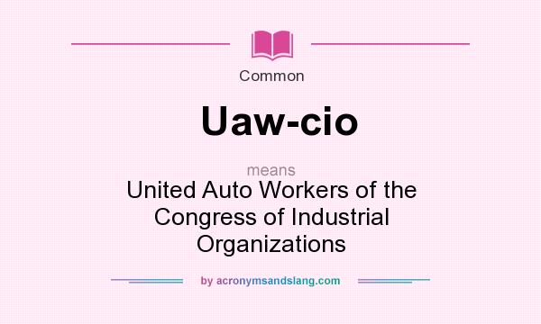 What does Uaw-cio mean? It stands for United Auto Workers of the Congress of Industrial Organizations