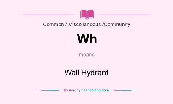 What does Wh mean? It stands for Wall Hydrant