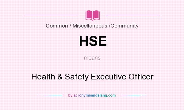 What does HSE mean? It stands for Health & Safety Executive Officer