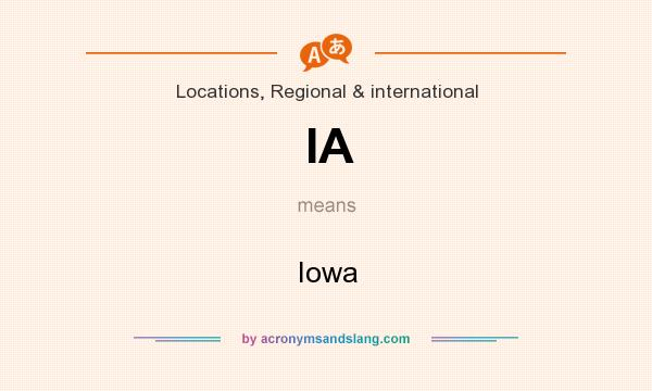 What does IA mean? It stands for Iowa