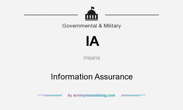 What does IA mean? It stands for Information Assurance