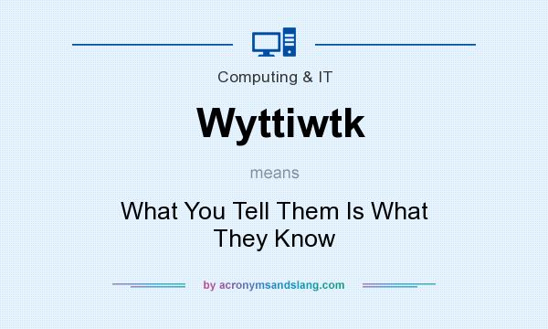 What does Wyttiwtk mean? It stands for What You Tell Them Is What They Know