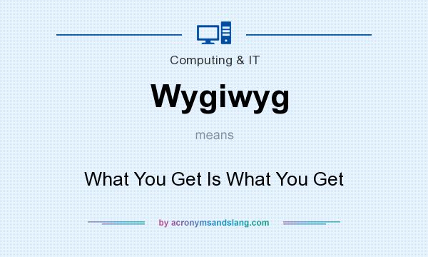 What does Wygiwyg mean? It stands for What You Get Is What You Get