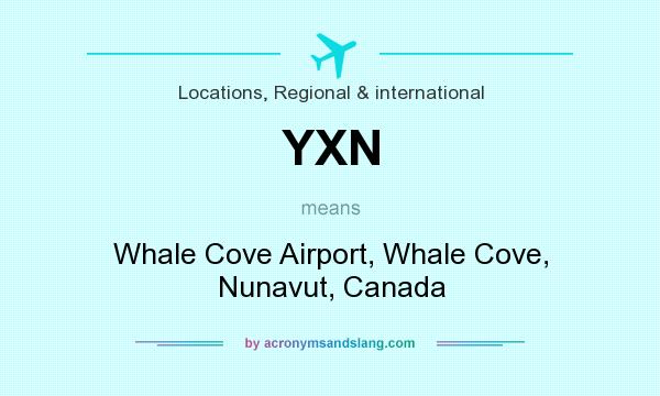 What does YXN mean? It stands for Whale Cove Airport, Whale Cove, Nunavut, Canada