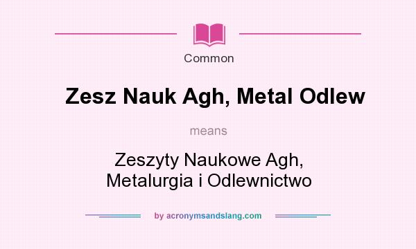 What does Zesz Nauk Agh, Metal Odlew mean? It stands for Zeszyty Naukowe Agh, Metalurgia i Odlewnictwo