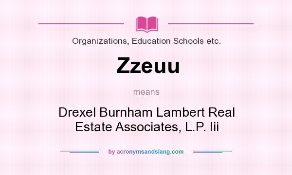 What does Zzeuu mean? It stands for Drexel Burnham Lambert Real Estate Associates, L.P. Iii