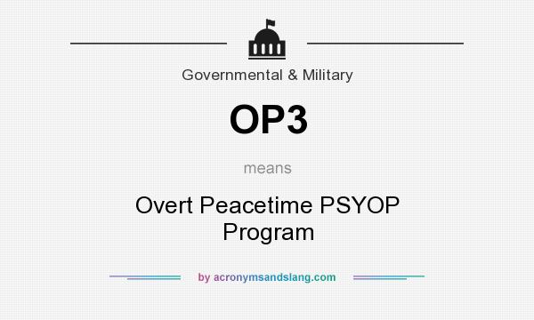 What does OP3 mean? It stands for Overt Peacetime PSYOP Program