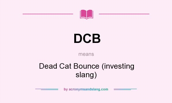 What does DCB mean? It stands for Dead Cat Bounce (investing slang)