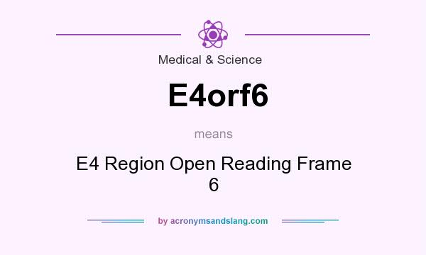 What does E4orf6 mean? It stands for E4 Region Open Reading Frame 6