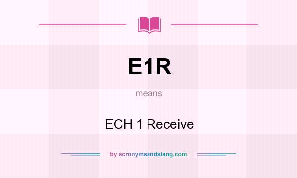 What does E1R mean? It stands for ECH 1 Receive