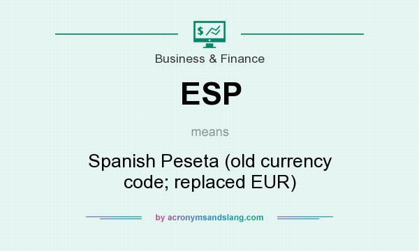 What does ESP mean? It stands for Spanish Peseta (old currency code; replaced EUR)
